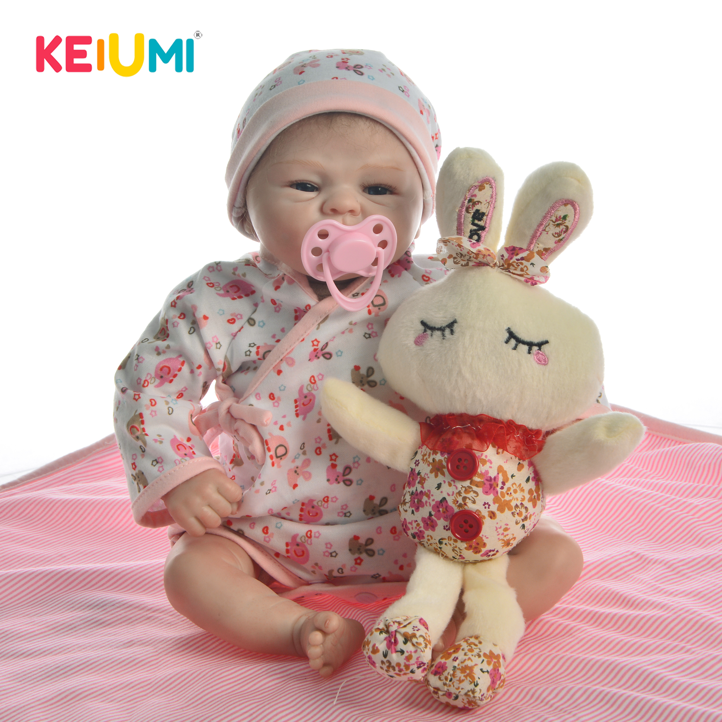 Unique 17 inch 43 cm Lifelike Baby Reborn Baby Doll Realistic Soft Silicone Reborn Little Babies