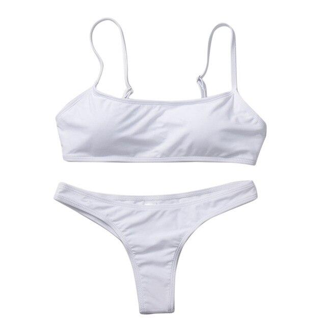 2019 New Summer Women Solid Bikini Set Push-up UnPadded Bra Swimsuit Swimwear Triangle Bather Suit Swimming Suit biquini 3