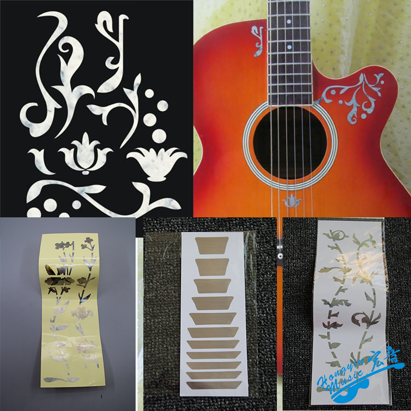 Smart Guitar Fingerboard Protection Sticker Gardenia Flowers Tree Cherry Blossoms Star Cross With Colorful Shell Paper Decorative Stringed Instruments Musical Instruments