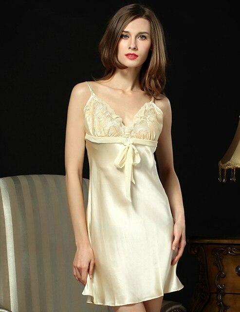 2017 New Vestido De Festa Longo Summer Natural Silk Nightdress Women 100% Nightgowns Sexy Sleepwear Straps Sleep Lounge D3336