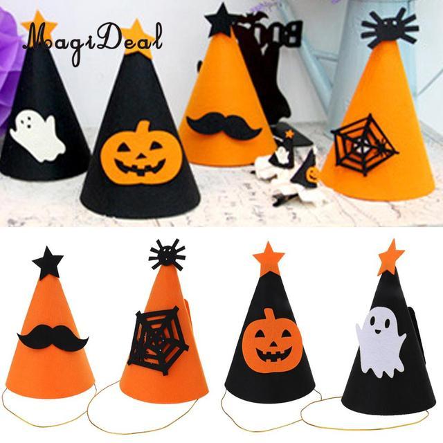 Halloween Party Supplier Felt Cone Hat Fancy Dress Ball Headdress Hair  Accessories Ghost Pumpkin  Mustache Spider e16b5c614b2