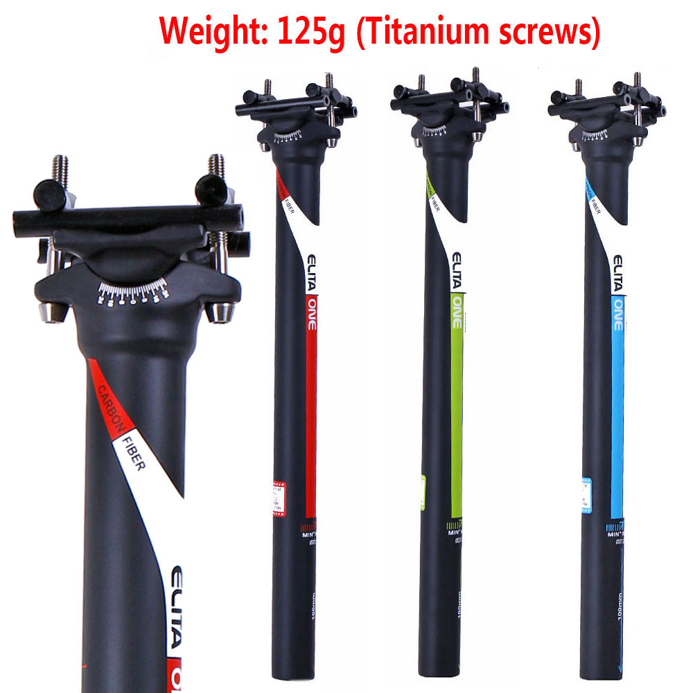 ELITAONE Full Carbon Fibre Seat Post MTB Road Mountain Bike Carbon Seatpost 27.2/31.6*350/400 Mm Seat Tube  Light 125g UD Matte
