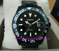 40mm PARNIS Sapphire Crystal Asian 2824 Automatic machinery movement GMT men's watches black rotateing Ceramic bezel zdgd41A