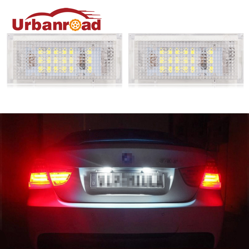 Urbanroad 2Pcs For BMW e46 Led Number License Plate Lights For BMW E46 4D 323i 325i 328i White Number Plate Lamp Bulb White 12v 2pcs car led number license plate lights lamp frame 12v white smd led bulb kit for chevrolet cruze camaro 2010 2014 accessories