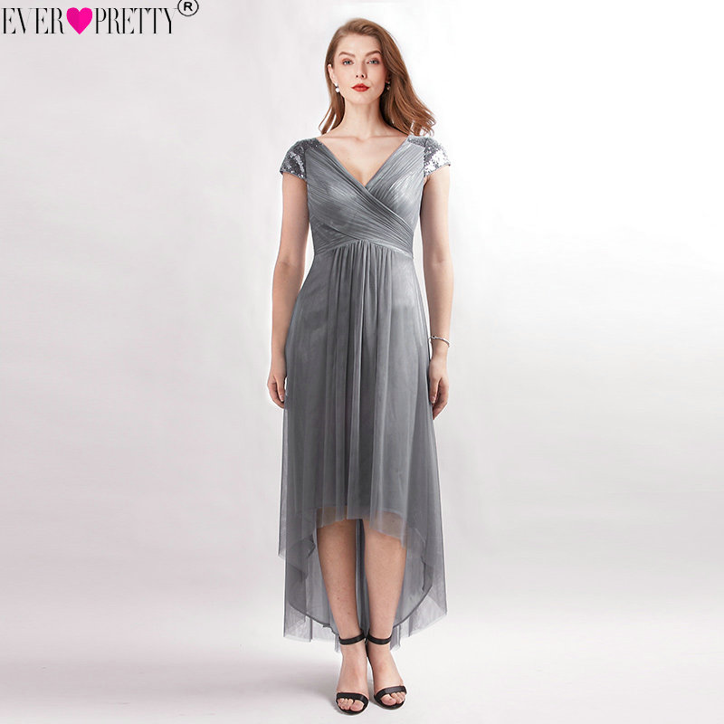 V-Neck Sequined Cap Sleeves High Low   Bridesmaid     Dresses   Ever Pretty EZ07590DY Elegant Deep Grey Tea Length Wedding Guest   Dresses
