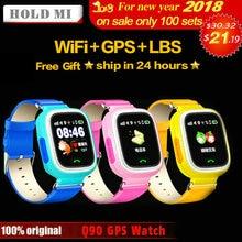 HoldMi Q90 gps ребенок Смарт-часы телефон позиции детей часы 1,22 дюйма Цвет Сенсорный экран WI-FI SOS Smart детские часы Q80 q50 Q60