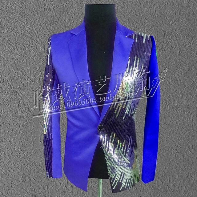 Больше Цветов! мужчины певец красный черный синий фиолетовый блестками пиджак вечернее платье хозяин платье костюмы! S-5XL бесплатная доставка