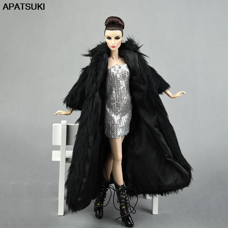 Doll Accessories Set Winter Super Long Fur Black Coat & Silver Dress Fashion Clothes For Barbie Doll Parka Dress For 1/6 Dolls