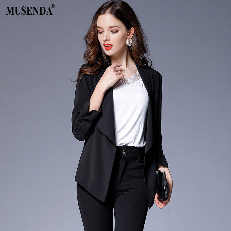 MUSENDA Plus Size Women Elegant Black Blazer Coat 2017 Autumn Female Office Lady Business Big Size Outerwear Blazers