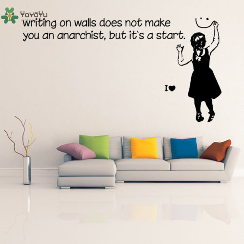 YOYOYU Wall Decal Vinyl Art Removeable Room Decoration Wall Decal Quote Anarchist Girl Poster Home Decor Mural YO411 in Wall Stickers from Home Garden
