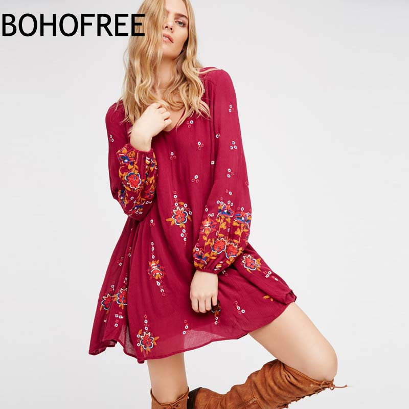 BOHOFREE Vintage Boho robe Mujer Floral broderie Vestidos Boho dos personnes évider brodé lâche bohème Mini robe