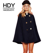 HDY Haoduoyi Women Black Cloak Coats Double Breasted Warm Jackets British Style Vintage Woolen coat Blends 2017 Winter Tops New(China)