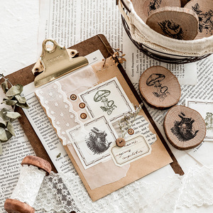 Image 4 - Vintage round wooden animal plants stamp DIY decal for scrapbooking stamp zakka stationery office school supplies gift