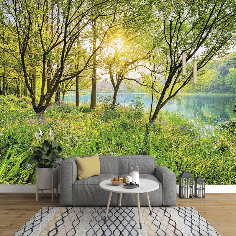 Custom Mural Wallpaper 3D Green Forest Nature Landscape Wall Painting Living Room TV Bedroom Home Decor Wall Paper For Walls 3 D