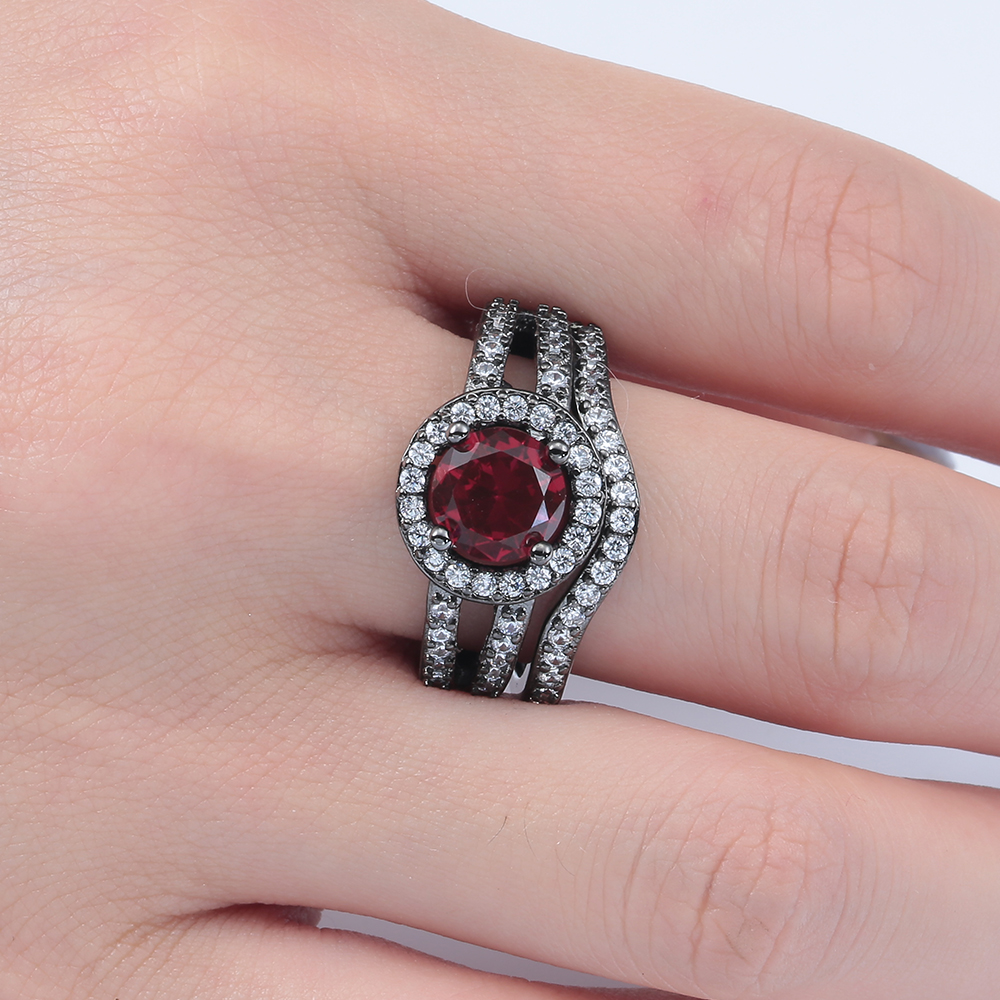 luxury Red black gun promise Rings sets new women jewelry gift ...