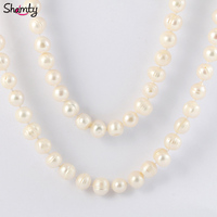 Natural Freshwater Pearl Necklace 100 Real Cultured Genuine Long Pearl Necklace 10mm AA Pearls Free Shipping