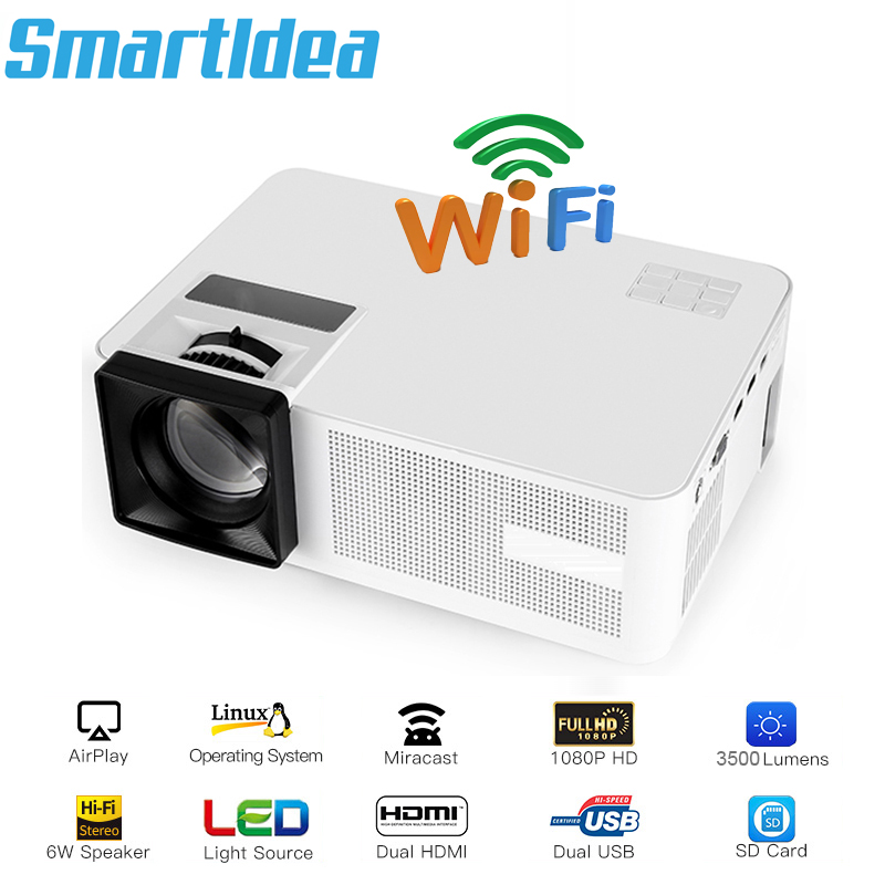 Smartldea LED Home theater Projector wifi HD cinema Proyector Video game Beamer Airplay Miracast DLNA option