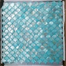Azulejo de mosaico de madre perla azul para decoración del hogar backsplash y baño azulejo de pared patrón de ventilador 1 metro cuadrado/lote