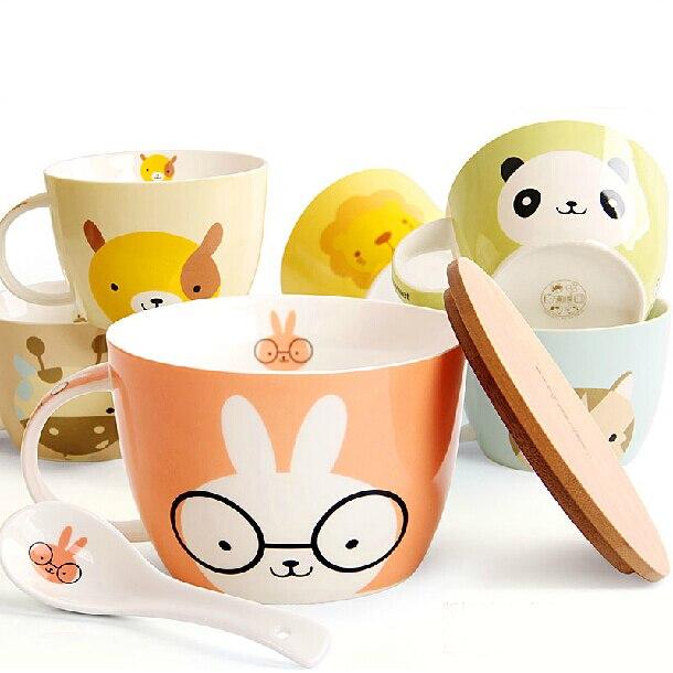 Joli ensemble de bols de nouilles instantanées | Animaux de dessin animé, bol de petit déjeuner en céramique avec couvercle et cuillère SH779