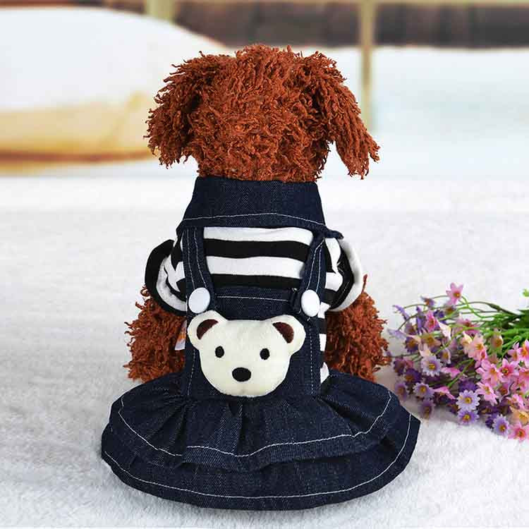 2016 Winter Warm New Dog Dress for Dog Clothes High Quality Jean Pet Clothes Fashion Striped Pets Dogs Princess Dresses Balck Red2