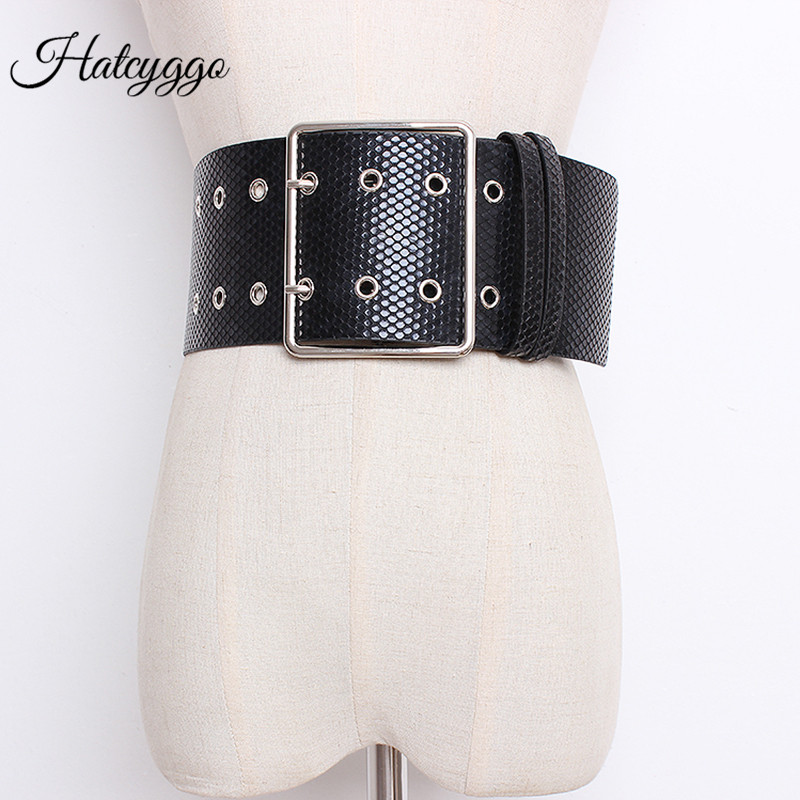 HATCYGGO Fashion Snake Leather Wide Belts For Women Elastic Wide European Style Women Belts Metal Round Buckle Dress Accessory