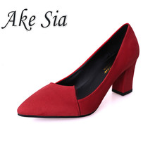 2019 spring new thick high heel black suede single shoes poi