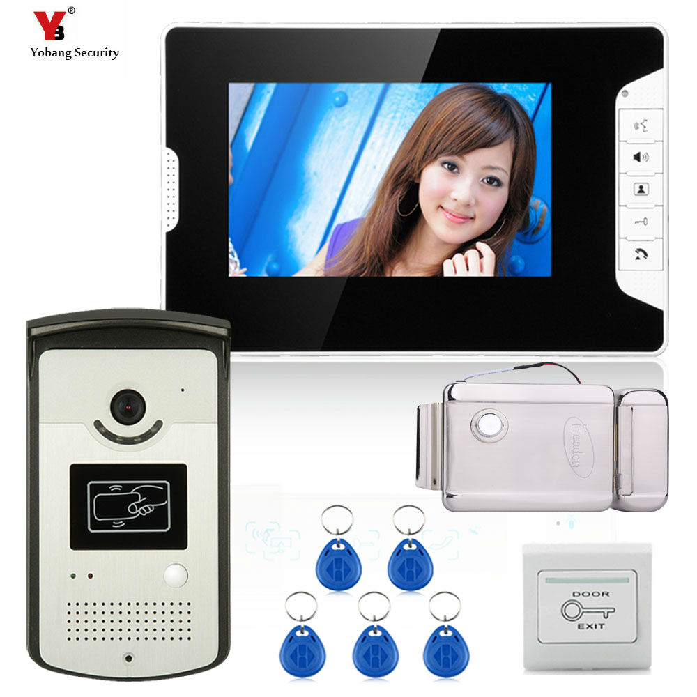 Yobang Security HD 7 inch Screen Video Doorphone Doorbell Speraker phone Video Intercom system Release Unlock for Private House ac100v 240v 7 inch screen 16 9 hd villa button wired video doorphone infrared night vision home security doorbell system