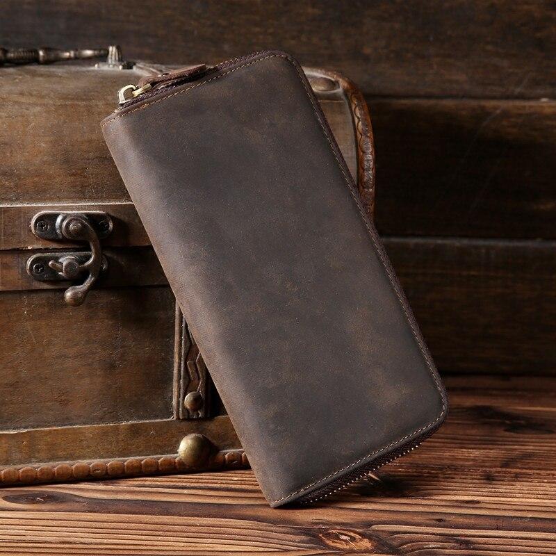 LAPOE Solid Wristband Men Wallet male long zipper Men purse large capacity coin wallet purse brand new vintage phone clutch