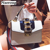Women Luxury Designer Diamond Pearl Bags Famous Brand Ladies Chains Locks Shoulder Bag Personality Tote Bags Wide Colorful Strap