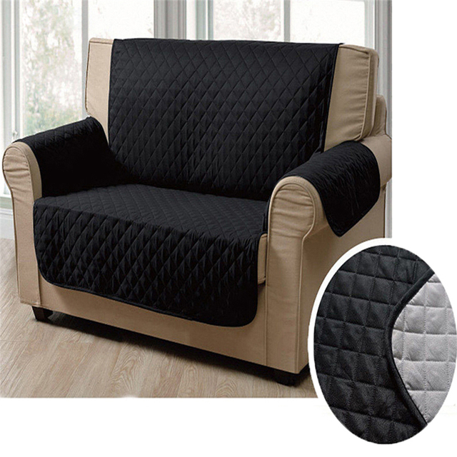 New Solid Color Waterproof Double Seater Sofa Cover Couch Stretch Seat Lounge Pockets Protector Slipcover Reversable
