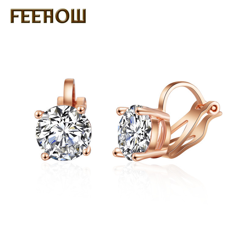 FEEHOW Trendy AAA Round Cubic Zircon Clip Earrings Crystal Des boucles doreilles For Women Girl Party Gift Jewelry FWEP526