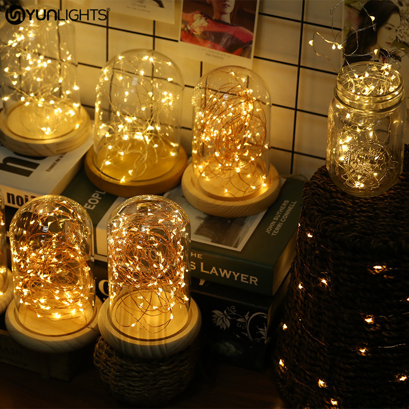 YUNLIGHTS Led String Light Copper Wire Button Battery Powered LED Fairy Light for DIY Valentines ...