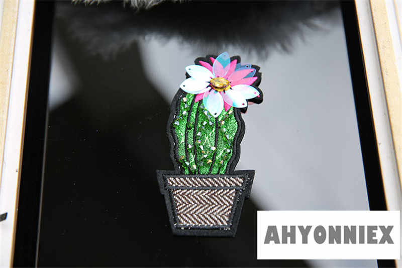 Iron on Cactus patch Sequin plant patches 2pc//set Flower patch