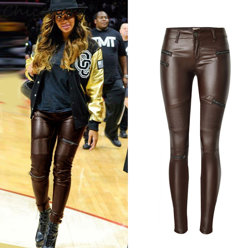 Chicanary Faux Leather Zippered Skinny Jeans Women Patchwork Knee Stretch knit Pencil Pant Coffee