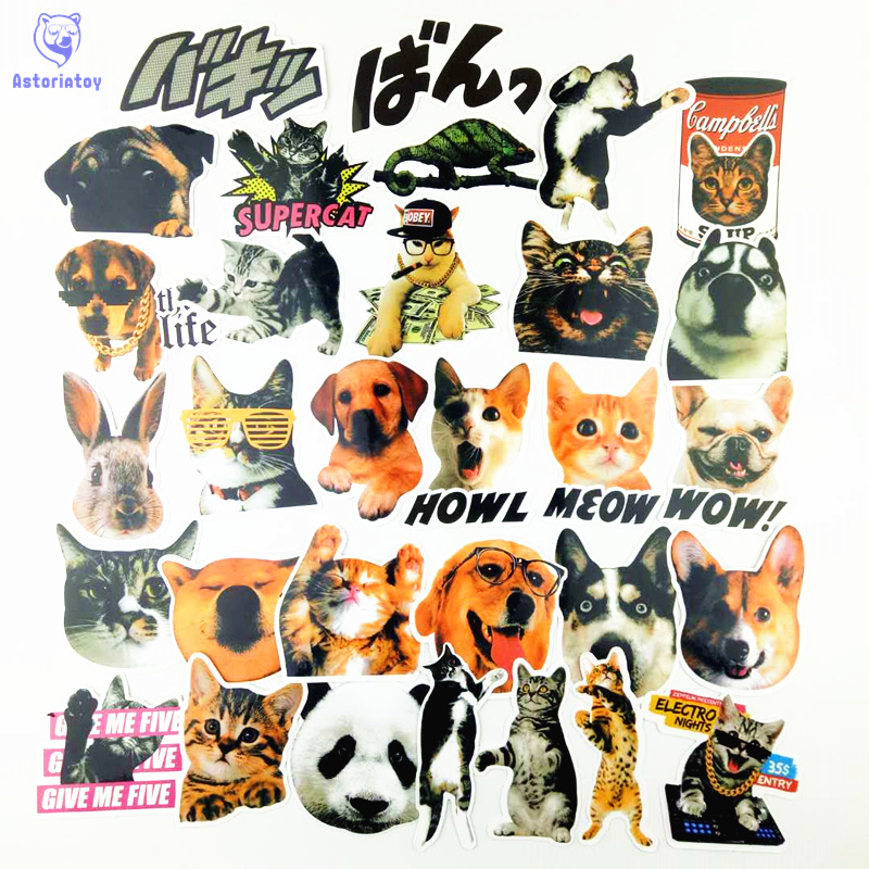 31pcs/1lot Cute pet cat dog funny Funny Sticker Decal For Car Laptop Bicycle Motorcycle Notebook Waterproof Stickers