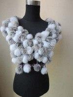 Mode hiver chaud réel rabbite fourrure main écharpe cape/108 la balle/naturel gris avec blanc 11 #