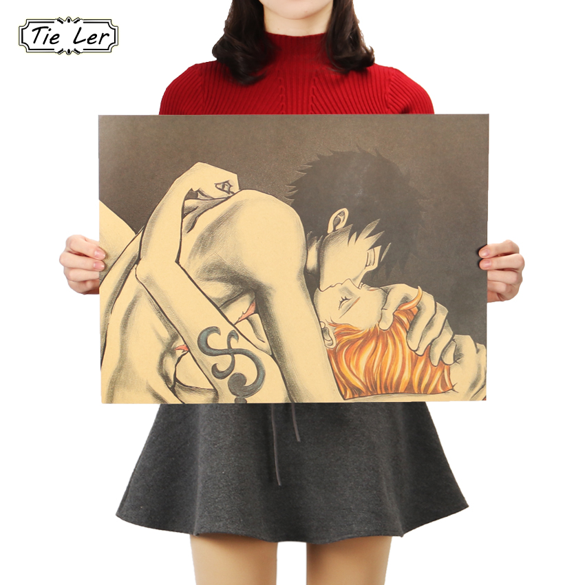 TIE LER Luffy Nami Kiss Decorative Paintings One Piece Anime Vintage Paper Posters Home Decor Wall Stickers 36 X 48cm