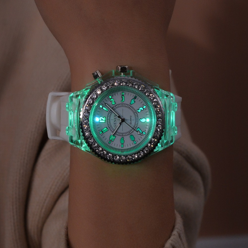 Luminous-Watches Led-Flash Men Women Clocks Quartz Silicone for Sport G Shock Kadin Saat