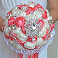 2017 Bridal Bridesmaid Wedding Bouquet Cheap New Luxury Crystal Coral&Ivory Handmade Artificial Rose Flower Bridal Bouquets