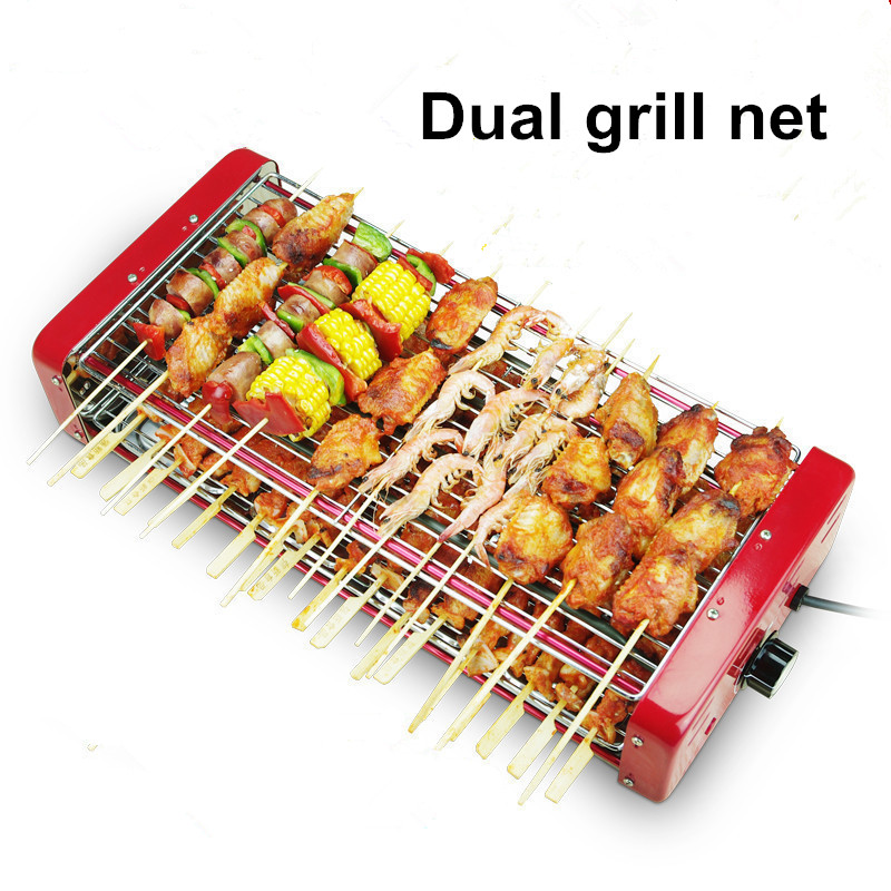 Double electric grill household electric ovens smokeless indoor Barbecue grill stainless steel skewer machine HA202