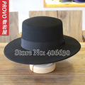 Winter Women Black Wool Felt Fedora Hats Flat Top Chapeau Wide Brim Formal Ladies Church Hats Free Shipping PWFE-019