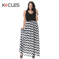 Plus Size 5 6 7XL Women Summer Bohemian Sexy Elegant Maxi Wave Striped Patchwork ONeck Sleeveless