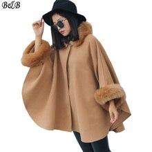 2016 Coat Female Temperament Cape Shawl Jacket Women Woolen Loose Coat Women Solid Long Sleeve Manteau Femme Plus Size FL0087