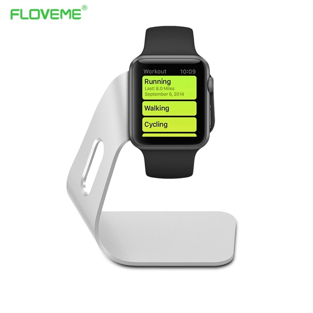 FLOVEME High-grade Sliver Aluminum Charging Dock Cradle Stand Charger For Apple Watch iwatch 42mm 38mm Charger Holder Universal
