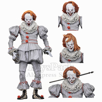 New In Box ORIGINAL NECA 7 Scale IT Well House Pennywise 2017 Movie Action Figure Reel Toys Grin Faces Doll Model Collectible