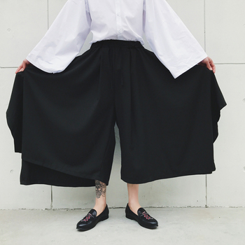 S-XXL!! Dark spring and autumn tide big size new alternative big skirt big bell pants nine points wide leg pants