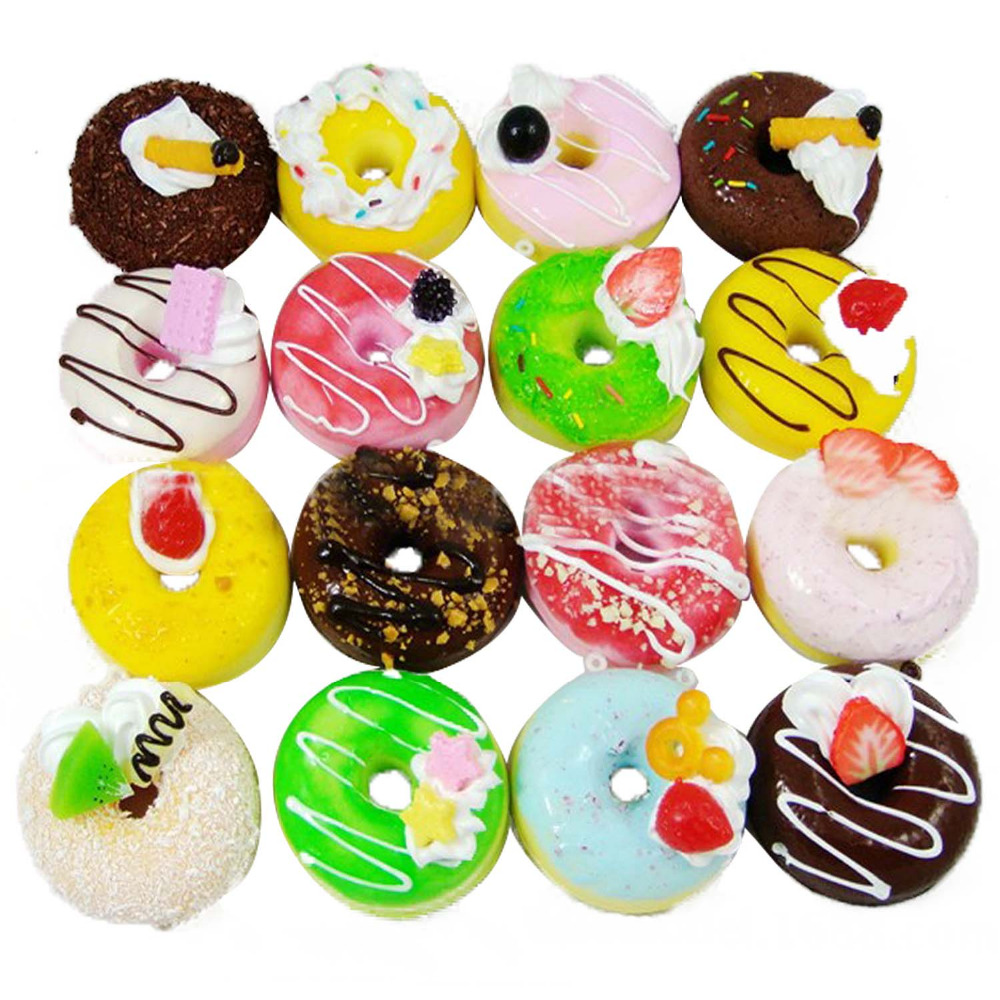 4 PCS 7cm PU Cartoon Doughnut Multi-purpose Home Wedding Decoration Ornament Items Kid Kitchen Squeeze Toy Photography Props