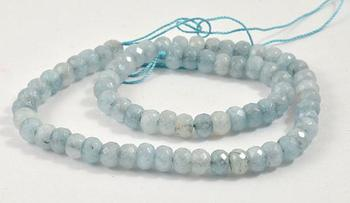 Unique Pearls jewellery Store Charm 7X5MM Heishi Faceted Aquamarine Quartz Gemstone Loose Beads One Full Strand 15''  LC3-0273