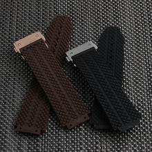 New high quality stainless steel Silver buckle black diving silicone rubber watch band strap