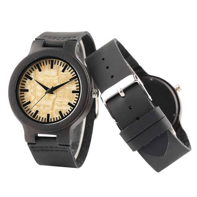 Couple Watches Dark Bronw Case Yellow Dial Wooden Watch Modern Bamboo Quartz-watch Hand-made Wooden Watches Soft Leather Band 4